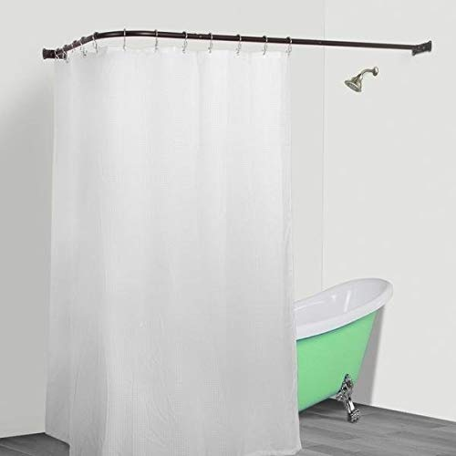 MISC L Shaped Shower Curtain Rod Bronze Aluminum Wrap Around Pole Round Corner Bathroom Angled D ...