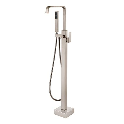 Artiqua Freestanding Bathtub Faucet Tub Filler Brushed Nickel Waterfall Floor Mount Single Handl ...