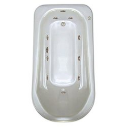 Signature Bath LPI279-W-RD Drop-In Whirlpool Bathtub with Stainless Jets – Right Drain, White