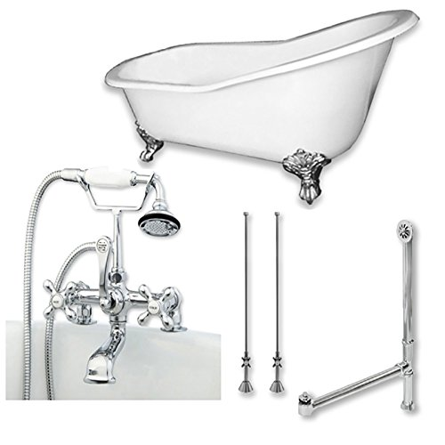 61″ Cast Iron Clawfoot Slipper Bathtub, Classic Telephone Faucet Deck Mount Plumbing Packa ...