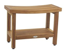 AquaTeak Patented 24″ Sumba Teak Shower Bench with Shelf