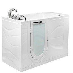 Ella Zen Acrylic Hydro Massage and Microbubble Walk-In Bathtub with Left Outward Swing Door, Fas ...