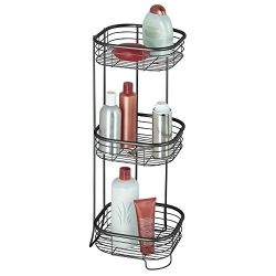 mDesign Square Metal Bathroom Shelf Unit – Free Standing Vertical Storage for Organizing a ...