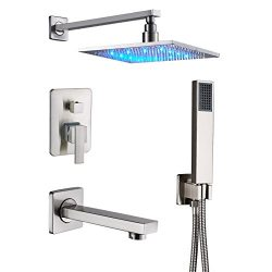 Senlesen Brushed Nickel Rain Mixer Shower Combo Set Wall Mounted 3 Way Shower System with 12R ...