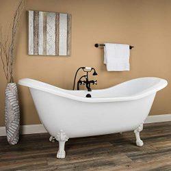 Randolph Morris 70 Inch Acrylic Double Slipper Clawfoot Tub – No Drillings