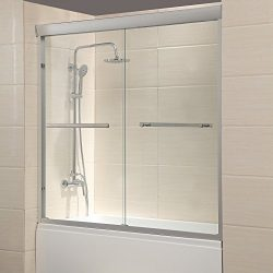 Mecor 60″W x 57.4″H Framed Bathtub Sliding Shower Door 1/4″ Clear Glass with 2 ...