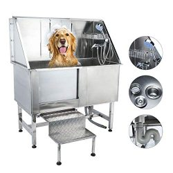 CO-Z 50 Inches Professional Stainless Steel Pet Dog Grooming Bath Tub Station Wash Shower Sink w ...