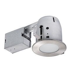 Globe Electric 4″ Flush Round Trim Recessed Lighting Kit, Brushed Nickel, Tempered Frosted ...