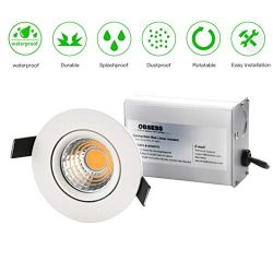 OBSESS 3-Inch IP54 Waterproof Shower Light with 8W COB LED Downlight, Damp Location Use, Shower  ...