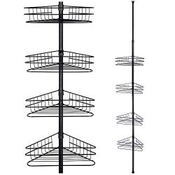 Yescom 4 Tier Metal Bathroom Telescopic Corner Shower Shelf Caddy Pole Wall Rack Storage Organiz ...