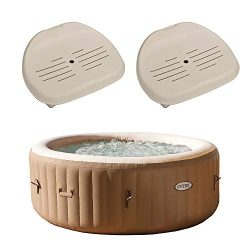 Intex PureSpa 4-Person Inflatable Bubble Jet Spa Portable Hot Tub, Tan | 28403E Removable Slip-R ...