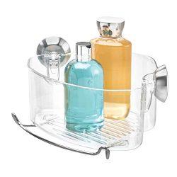 InterDesign Forma Power Lock, Suction Bathroom Shower Caddy Corner Basket for Shampoo, Condition ...