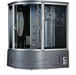 2019 Siena Computerized Steam Shower Sauna with Jetted jacuzzi Whirlpool Massage Bathtub Spa (Grey)