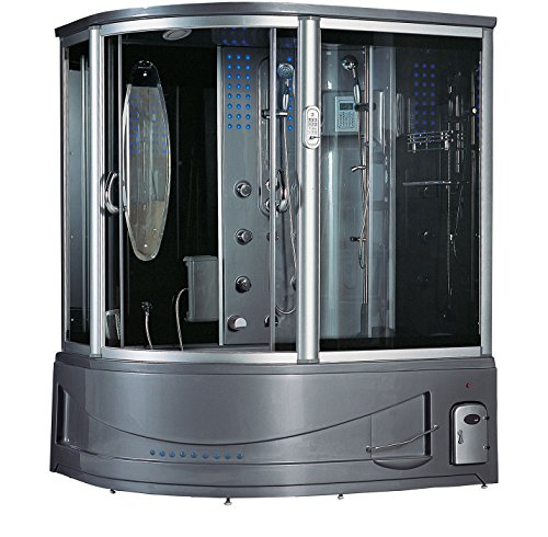 2019 Siena Computerized Steam Shower Sauna with Jetted jacuzzi Whirlpool Massage Bathtub Spa (Grey)