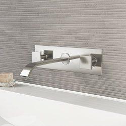 VIGO VG05002BN Titus Two Handle Wall Mount Bathroom Faucet, Brushed Nickel Lavatory Faucet, Uniq ...