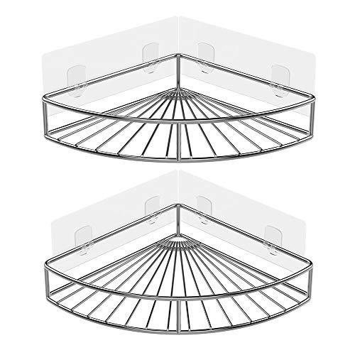 ODesign Adhesive Corner Bathroom Shelf Storage Wall Mounted Shower Caddy Shelf Organizer for Kit ...