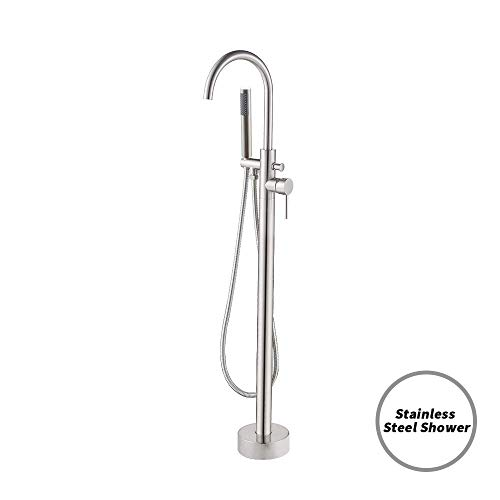 KES Free Standing Clawfoot Tub Filler Floor Mount Brass Faucet Tap Mixer with Stainless Steel Ha ...