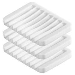 UVIVIU Soap Dish for Shower Waterfall,Flexible Silicone (Pack of 3) (White)