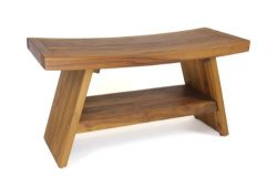 AquaTeak Patented 30″ Asia Teak Shower Bench with Shelf