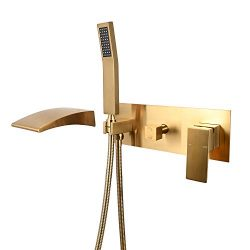 TINAGO Wall Mounted Bathtub Faucet with Tub Waterfall Wide Spout Filler and Handheld Shower Head ...