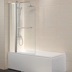Mecor Shower Door Hinged Frameless 1/4″ Clear Glass Bathtub Door Chrome Finish (55″X ...