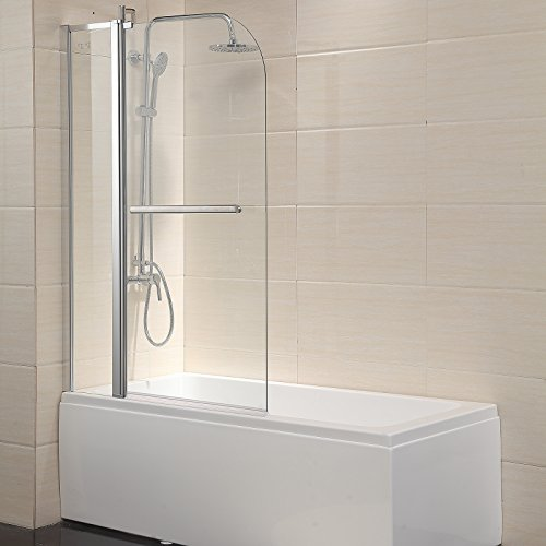 Mecor Shower Door Hinged Frameless 1/4″ Clear Glass Bathtub Door Chrome Finish (55″X ...