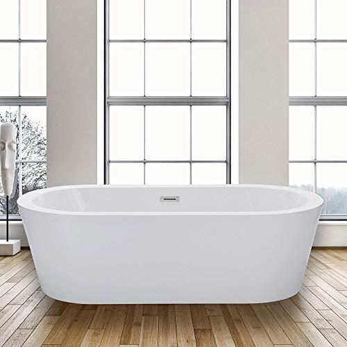 WoodbridgeBath BTA 1504 WOODBRIDGE 67″ Acrylic Freestanding Bathtub Contemporary Soaking T ...
