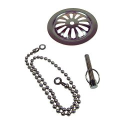 DANCO Clawfoot Old Style Bathtub Overflow Plate | Includes 15 in. Chain and Screw | Chrome (88992)