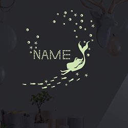 Glow in The Dark Ocean Bathtub Sticker Wall Decal, Starfish Mermaid Luminous Stickers DIY Name f ...