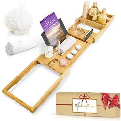 Royal Bathtub Tray Set, Expandable Non Slip Bamboo Wooden Caddy Bath Holder for Drinks Book Tabl ...