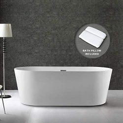 BATH MASTER Freestanding Bathtub Acrylic Bathroom Soaking Tub with Chrome Overflow and Drain (59 ...