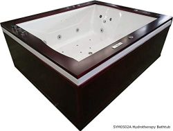 2 Person Bathtub Jetted Computerized Whirlpool, XL 5 Ft x 6 Ft, Hydrotherapy 27 Massage Jets, Bu ...