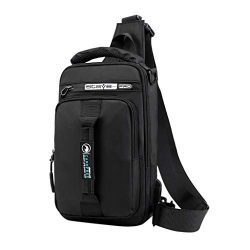 CCFAMILY Men Fashion Outdoor Oxford USB Versatile Shoulder Bag Messenger Bag Chest Bag