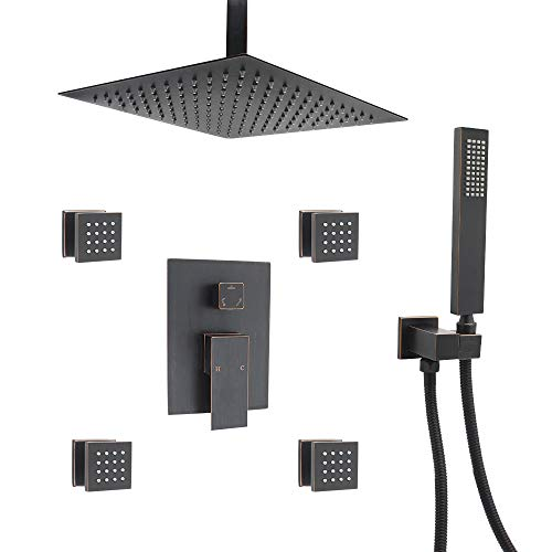 ENGA Shower System Ceiling Shower Faucet Set with 12″ Rain Shower Head Set and Body Jets ( ...