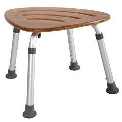 Bamboo Bath Seat, WATERJOY Shower Chair with 8 Height Adjustments, Triangular Fanshaped Bathroom ...