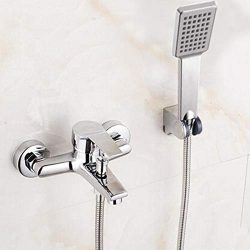 Mercury_Group, Wall Mounted Bathtub Faucet With Hand Shower Waterfall Bath Faucet Brass Chrome F ...