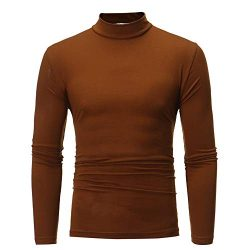 Men Autumn Winter Slim Fit Lightweight Turtleneck Long Sleeve Pullover Top Turtleneck T-Shirt To ...