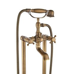 Rozin Floor Standing 2 Knobs Bathtub Faucet with Handheld Shower Set Antique Brass