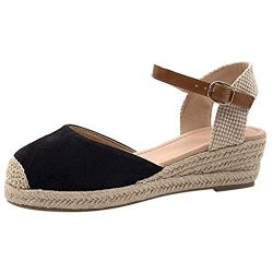 Women Platform Wedges Espadrille Sandals Ankle Strap Closed Toe Heels Pumps Ballerina Ballet Fla ...