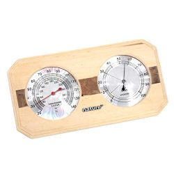DYNWAVE Wooden Sauna Hygrothermograph 2-in-1 Thermometer Hygrometer Sauna Room Accessory