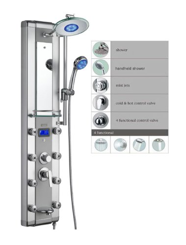 Blue Ocean 52″ Aluminum SPA33D Shower Panel Tower with Rainfall Shower Head, 8 Mist Nozzle ...