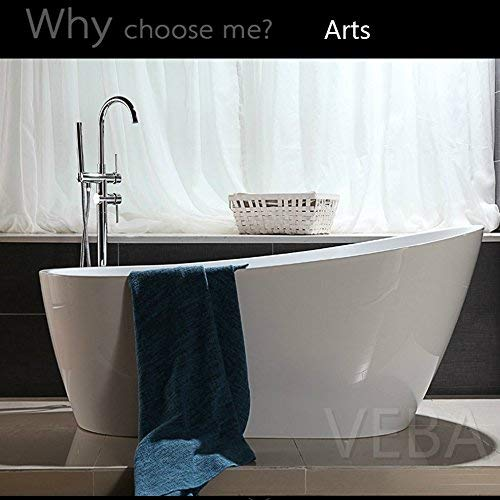 55 inch Free Standing Tub, cUPC Certificated, Small Freestanding Acrylic Bathtub with Overflow,  ...