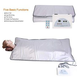 ETE ETMATE Body Shaper Weight Loss Far Infrared Sauna Blanket, 2 Zone Controller Professional De ...