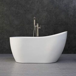 WOODBRIDGE White 54″ Acrylic Freestanding Bathtub Contemporary Soaking Tub with Brushed Ni ...