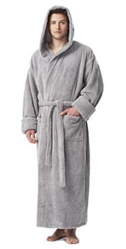 Arus Men's Fleece Robe, Long Hooded Turkish Bathrobe, Steel Grey, XXL