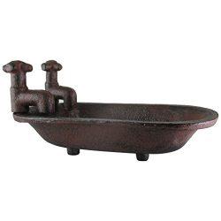 UD Clawfoot Bathtub Soap Dish Rustic Cast Iron w Faucets