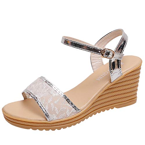 Women Platform Wedges Bohemian Sandals Buckle Strap High Heels Casual Beach Shoes Flip Flops (Si ...