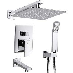 HIMK Shower System, Shower Faucet Set with Tub Spout and 12″ Rain Shower Head Wall Mounted ...