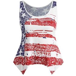 Bravetoshop Womens Sleeveless Striped Stars American Flag Print Back Ripped Tank Tops Blouse(Whi ...