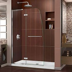 DreamLine SHDR-3445720-01 Aqua Ultra 45 in. Width, Frameless Hinged Shower Door, 5/16″ Gla ...